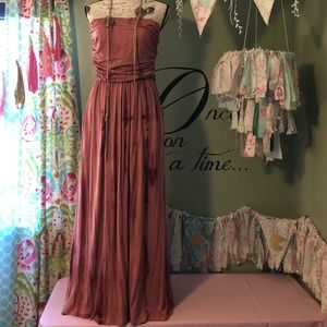 Strapless marbled print maxi dress size Large NWT